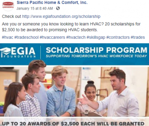 Sierra Pacific Home & Comfort for EGIA Foundation